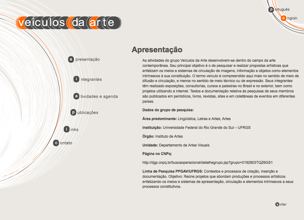 Art group Veiculos da Arte (Porto Alegre - RS - Brazil) WordPress Theme.